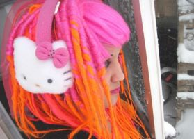 pink and orange dread wig by Candy-Toxin