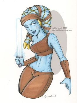 aayla... the bluest jedi by katiecandraw