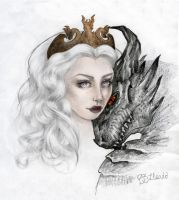 Daenerys Targaryen and Drogon by barbiexsofia