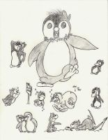 Penguin Sketch Dump (May 2012) by lefthoovesdash