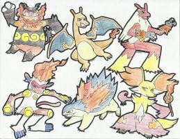 Fire Type Starters Final Evolution by jed251