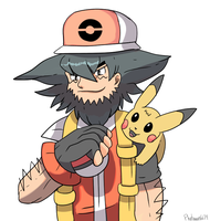 Commission older Ash and Pikachu by Phatmon66