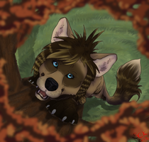 Commish . Happy dog in autumn by ShadowCatsKey