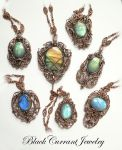Seven Labradorite and Copper Pendants by blackcurrantjewelry