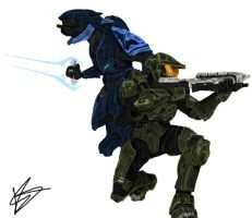 Master Chief and Elite by rcrosby93