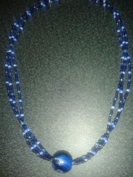 Three String Black and Blue Necklace by Tigerkytti