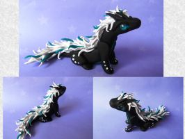 Dragon black and white with peacock pearl by Siachi