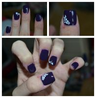 Purple Nails With White Patterns on acrylics by Bexiieeee