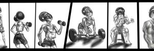 Toph Working Out by NeroScottKennedy