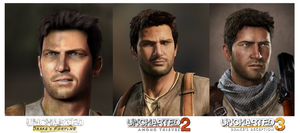 Uncharted 1 vs U2 vs U3: Nathan Drake by gtone339