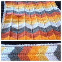 Fall Beauty Knitted chevron blanket by anerdycrocheter