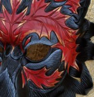 Close Detail of Autumn Leaf Wolf Mask by merimask
