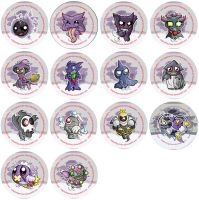 Ghost Pokemon Badge Set by RedPawDesigns