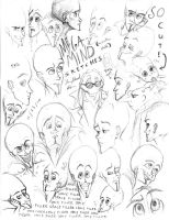 Megamind sketches by AmmyWolf95