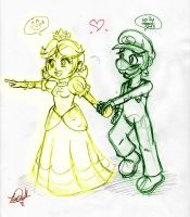 Lil Sketches 1:Daisy and Luigi by BlackBirdo