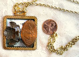 Winnie the Pooh Bear Pressed Penny Necklace by elllenjean