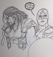 Captain America and Thor by Essig-Peppard