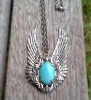 Blue Winged Pendant by SteamDesigns