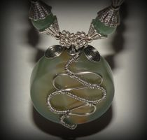Green jade and agate necklace - 2 by marsvar