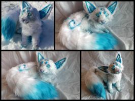 Handmade poseable Baby Ice fox by KaypeaCreations