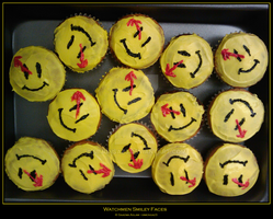 Cupcakes: Watchmen Smiley Face by simonsaz3