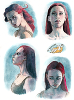 Light/Face small studies [watercolor] by Domisea