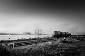 Two wagons and three cranes by Jbuth