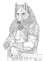 Woad warrior - lineart by Qzurr