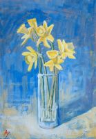 Daffodils in the glass by h-i-l-e-x