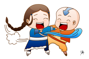 Aang and Katara Colored Ver. by Michalv