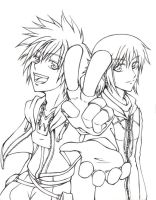Sora and Riku -inked- by xilverkit