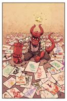 Hellboy Jr draws his future. by TheWoodenKing