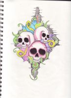Skull tattoo design by cjgolden73088