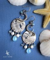Sterling silver earrings Over the waves by JSjewelry