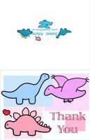 Girl dinosaur thank you note by SweetAllure