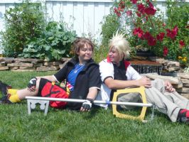 Sora and Roxas- Smirk by SelexiaOfTheHeart
