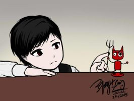Lucius Playing With Devil Bobblehead GIF 1 by EdwardElricKun
