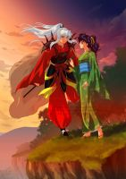 Commission - Daiyoukai Inuyasha and Kagome by Cati-Art