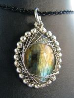 Labradorite and silver fractal wrap by BacktoEarthCreations