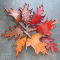 Leather Leaf Pile by Beadmask