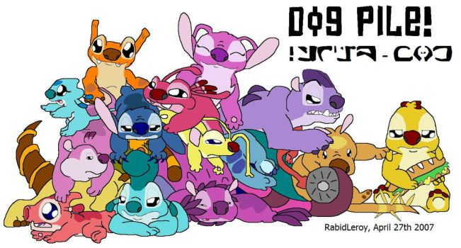 Doggy Piled: Stitch's Cousins by RabidLeroy