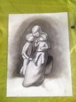Mother and her children charcoal by Jylm75