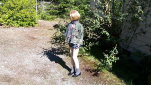 Blonde in Camo, Jeans Skirt, Black Penny Loafers by peerlesspenny