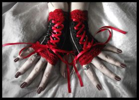 Red Corset Fingerless Gloves by ZenAndCoffee
