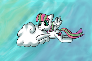 Blossomforth pushes a weird looking cloud by Quacksquared