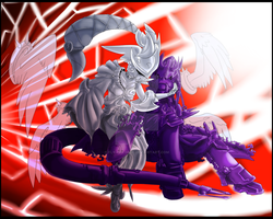 Athenamon and P. Ouroboromon by Fly-Sky-High