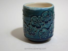 Blue Blossoms Tea Cup by skimlines
