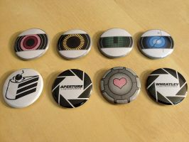 Portal 2 Pinback Button Set by Monostache