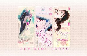 3 jap girl icons by jewell-liu