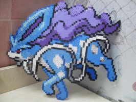 Pokemon: Perler Bead Suicune by heatbish